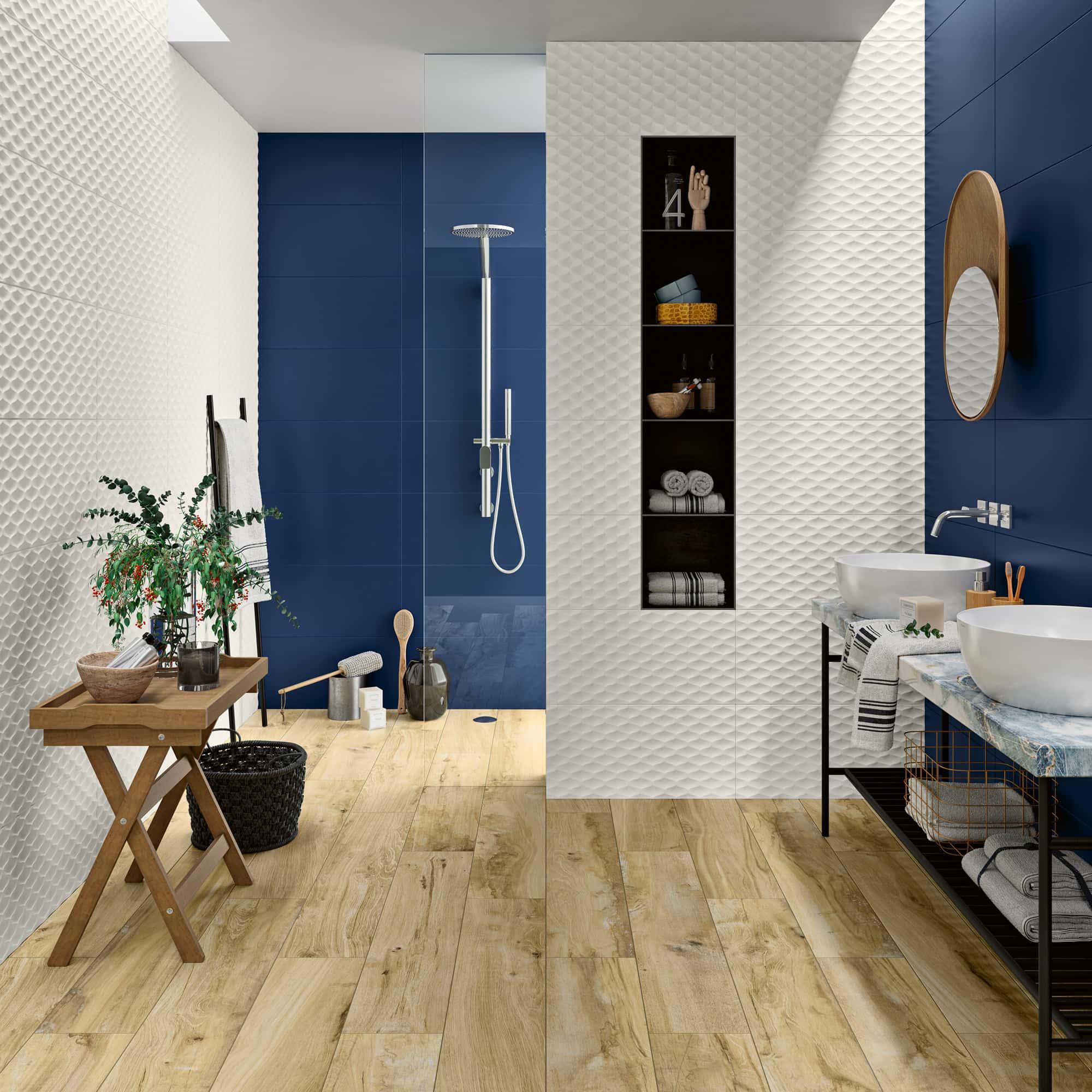 Genesis Skin White Matt - 30 x 60 RET. | Genesis Deep Blue Matt - 30 x 60 RET. | Wooden Beige - 20 x 100