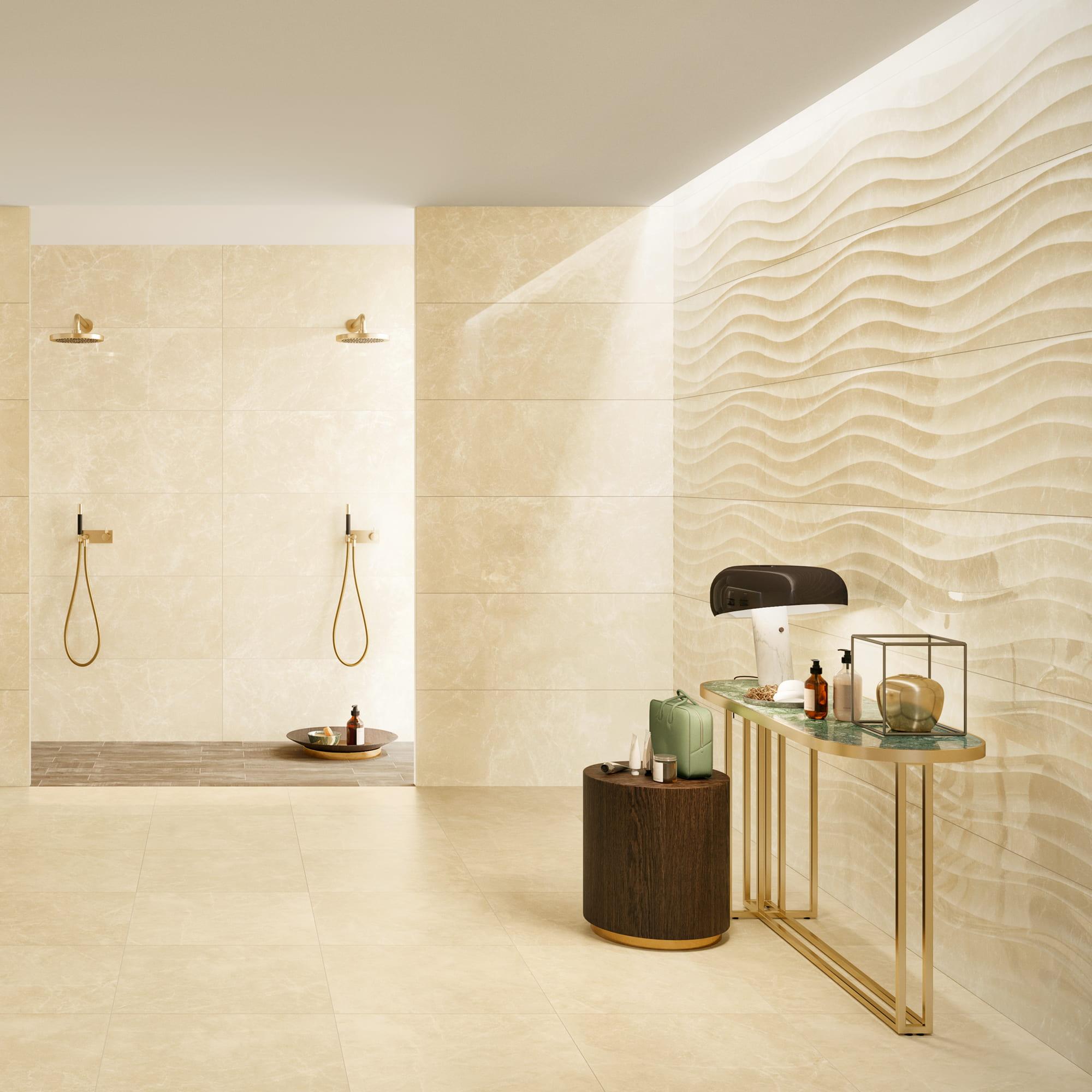 Marble Beige Shine - 45 x 119 RET. | Marble Flux Beige Shine - 45 x 119 RET. | Marble Beige Matt - 60 x 60 RET. | Wildwood Tortora - 15 x 75 AS