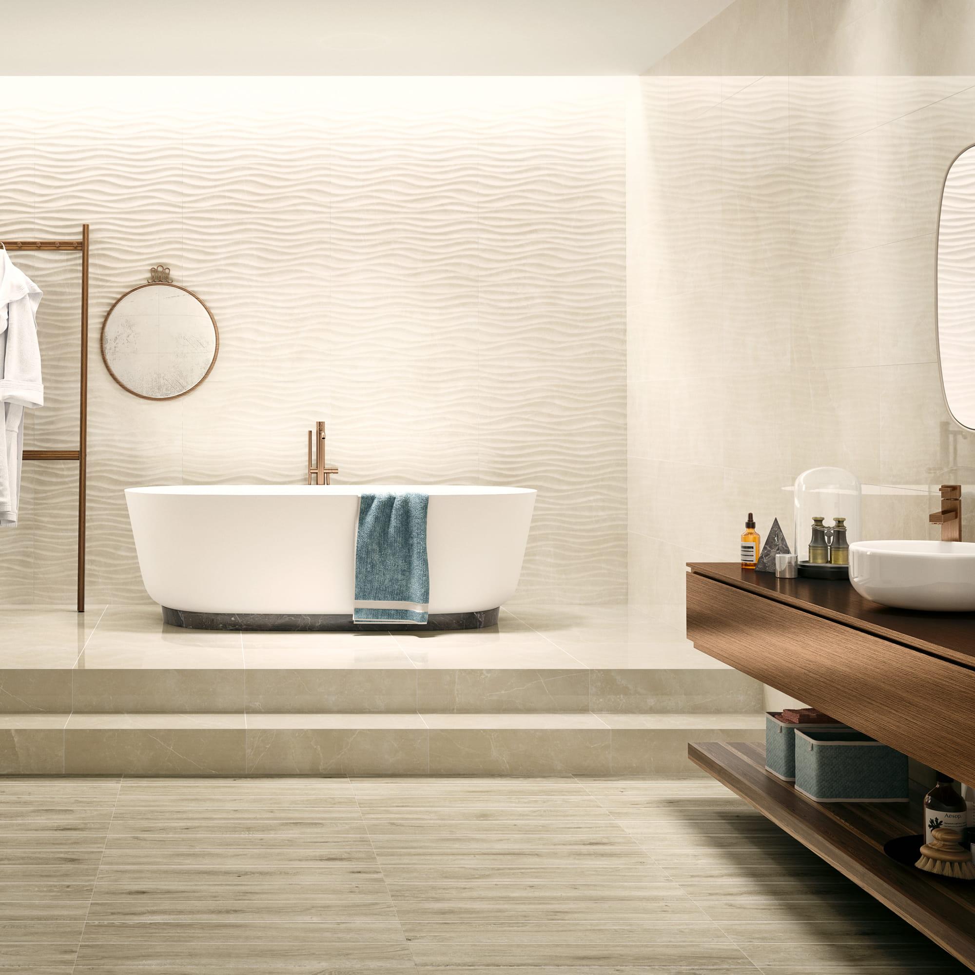 Marble Cream Shine - 35 x 70 RET. | Mosaic Curl Cream Shine - 35 x 70 RET. | Marble Cream Pol. - 60 x 60 RET. | Tree Tortora - 15 x 75