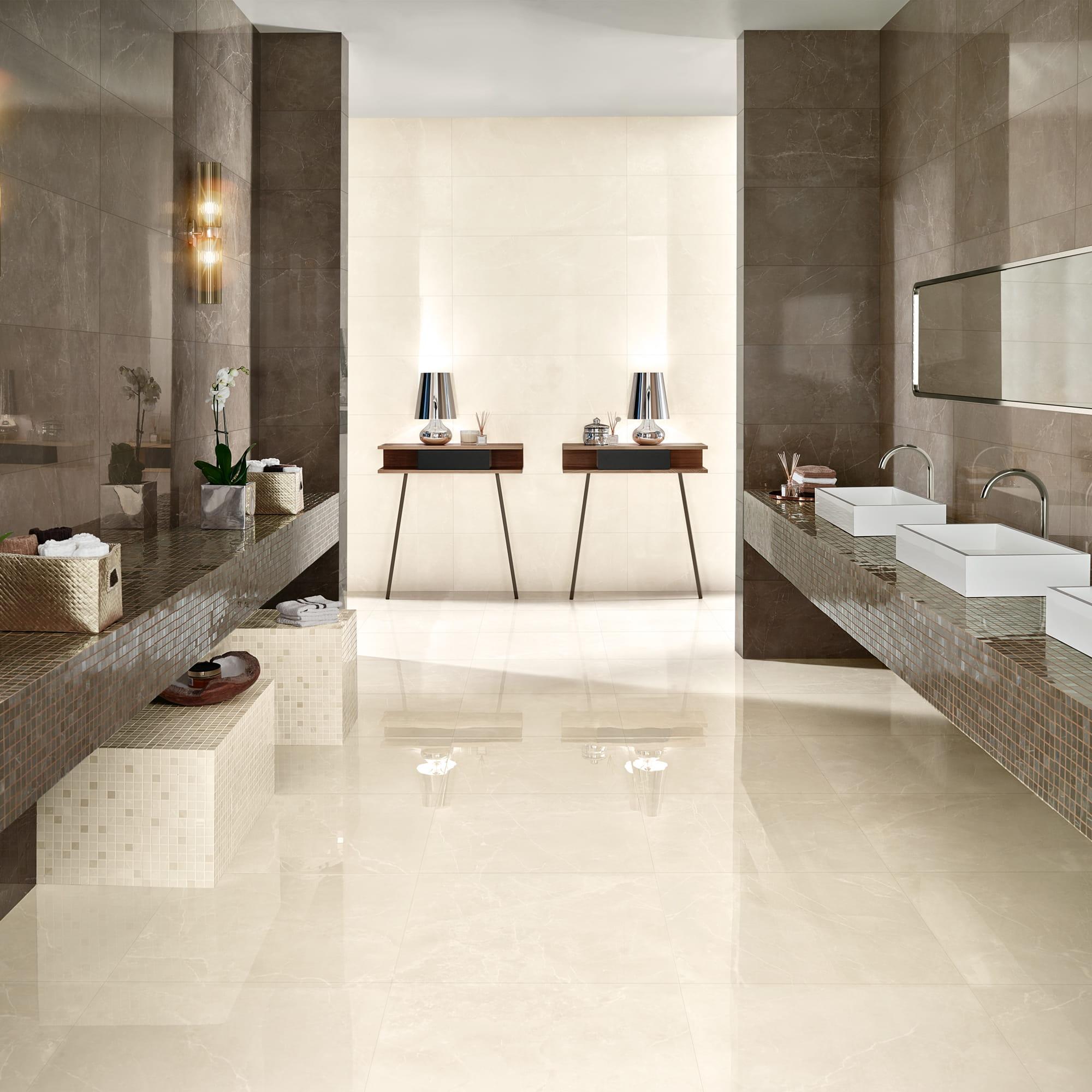 Marble Tortora Shine - 35 x 100 RET. | Marble Cream Shine - 35 x 100 RET. | Mosaic Marble Tortora Shine - 17 x 17 | Mosaic Marble Cream Shine - 17 x 17 | Marble Cream Pol. - 60 x 60 RET.