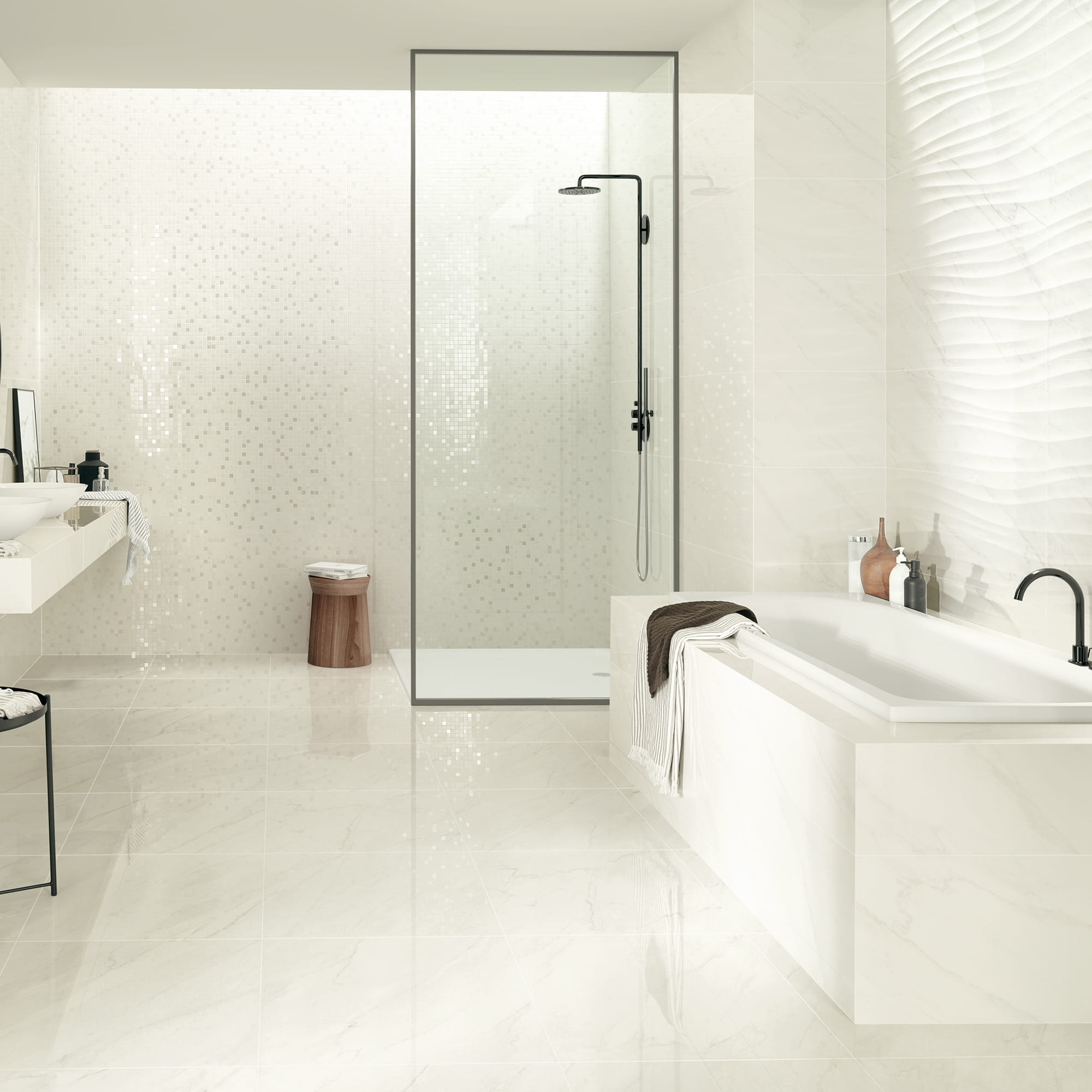 Marble White Shine - 35 x 100 RET. | Mosaic Marble White Shine - 17 x 17 | Marble Shape White Shine - 35 x 100 RET. | Marble White Pol. - 60 x 60 RET.