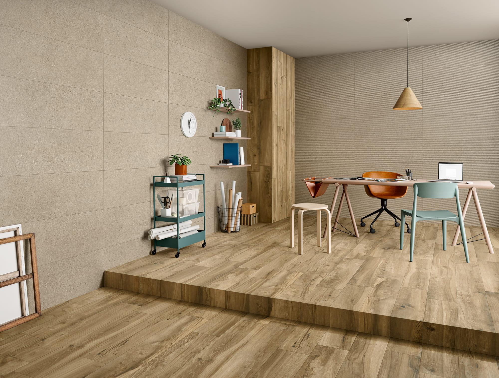 Stark Beige - 35 x 100 RET. | Lining Beige - 35 x 100 RET. | Wooden Dark Beige - 20 x 100